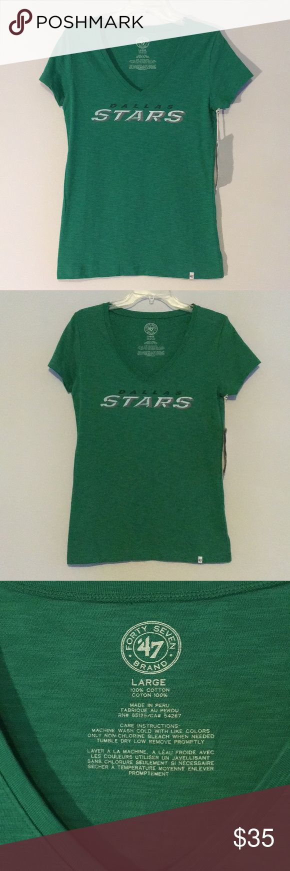 NWT NHL Women's Dallas Stars Logo Green Shirt Nothing says you love your team as much as this NHL Women's 47 Brand Dallas Stars T-Shirt with it's casual comfort great for daily wear or the big day. Let your friends know who you're rooting for on game day with the fitted style and a spicy v-neck view of your favorite team colors. NHL Tops Tees - Short Sleeve