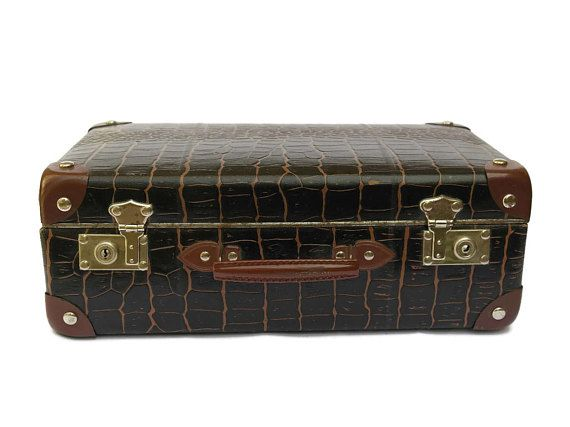 Vintage Childrens Suitcase with Embossed Faux Alligator Skin.