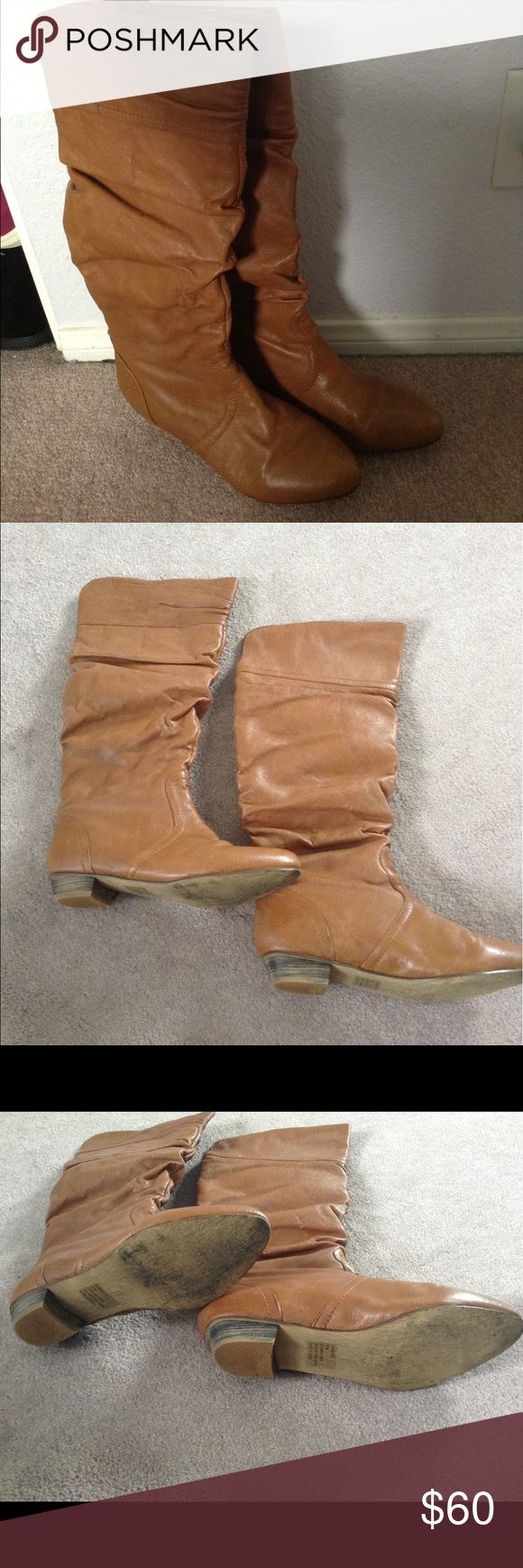 9.5 candence Steve Madden cognac boots worn once Will only be listed until June 11th Steve Madden Shoes Ankle Boots & Booties