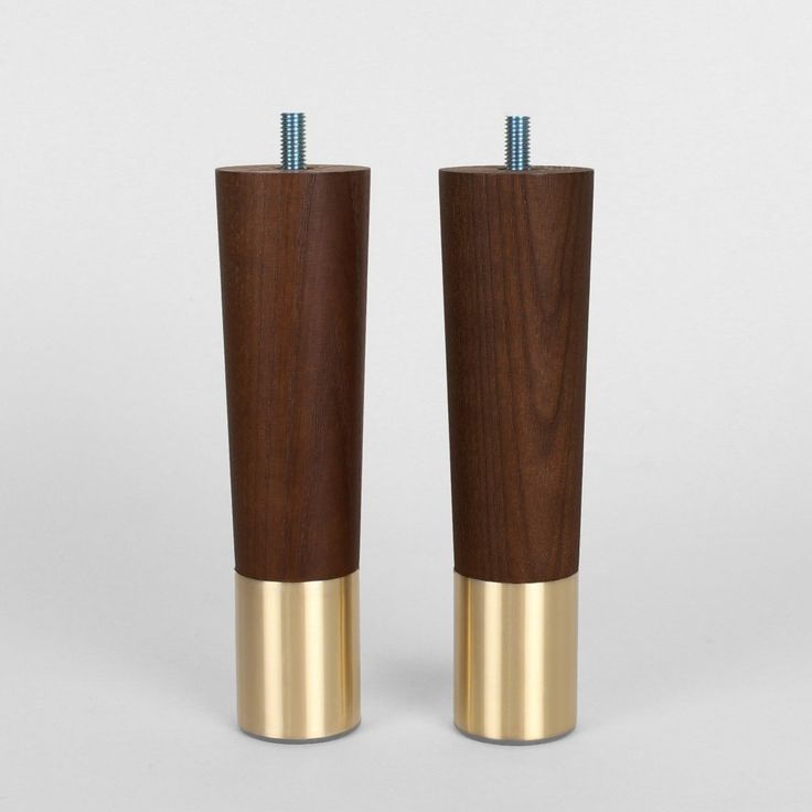 Set Of 2 Mid Century Modern Furniture Legs Replacement Legs In Walnut