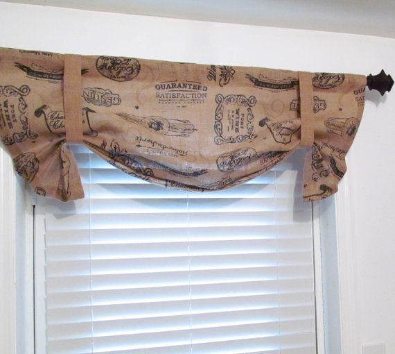 French Printed Burlap Tie Up Curtain Valance By
