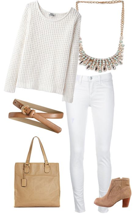 Winter Whites casual look Sweater - Acne Jeans - Citizens of Humanity Necklace…