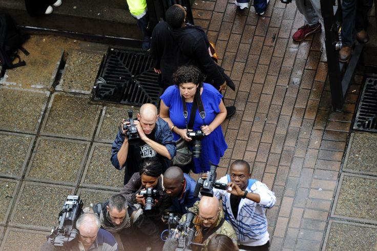 Alet Pretorius (in blue) at the Oscar Pistorius case in the Pretoria High court.  Follow Beeld's coverage on www.beeld.com