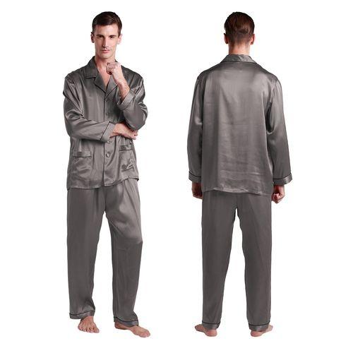 Dark Gray Men Silk Pajamas