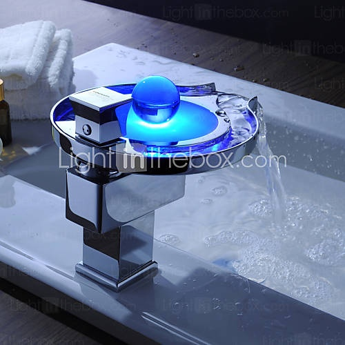 Sprinkle by lightinthebox color changing led waterfall bathroom sink faucet unique design