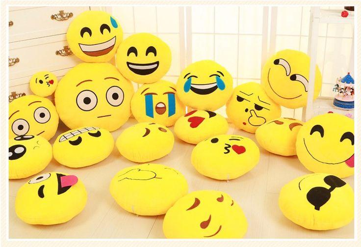 2016 Funny Pretty Soft Cute Emoji Smiley Emoticon Pretty Round Cushion Pillow Stuffed Plush Toy Smiley Cojines 15cm/33cm/50cm