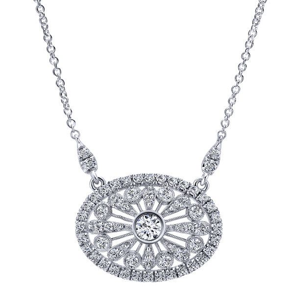 "Gabriel 18k White Gold ""Sand Dollar"" Oval Filigree Vintage Style Diamond Necklace Featuring 0.70 Carats Round Cut Diamonds. Style NK5047W84JJ Buffalo, NY"