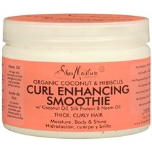 Organic Coconut and Hibiscus Curl Enhancing Smoothie...This Stuff Rocks! No more Dry fragile hair. For $10 you get quite a bit. Great for 1st day hair. Use after conditioning.