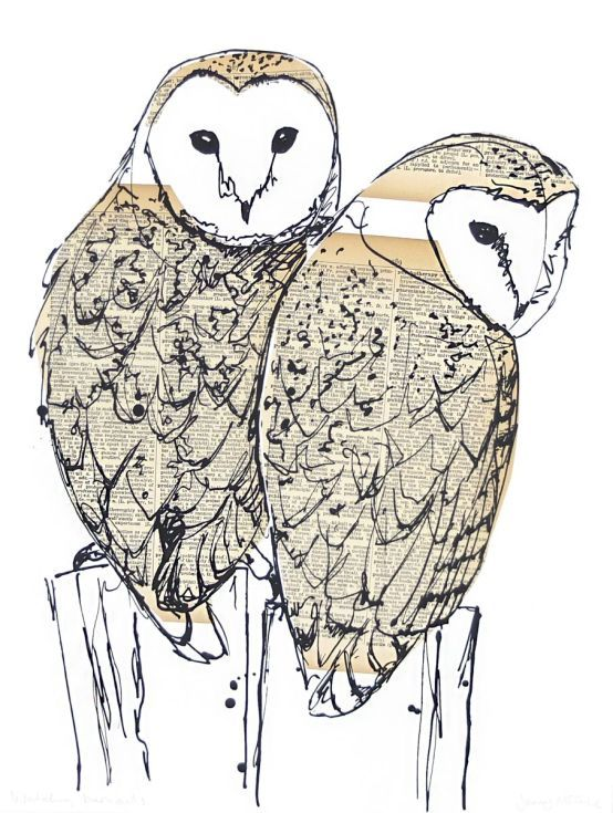 ARTFINDER: Watching barn owls by Jenny McCabe - Based on my original pen & ink drawing, it is screen printed over collaged vintage book pages to create the tones and textures of the bird or animal. Each b...