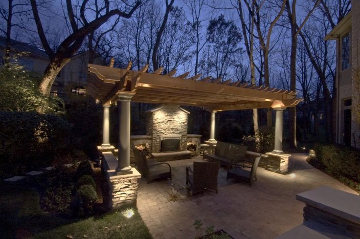 Want accent lighting on the pergola fireplace and around for Outdoor accent lighting
