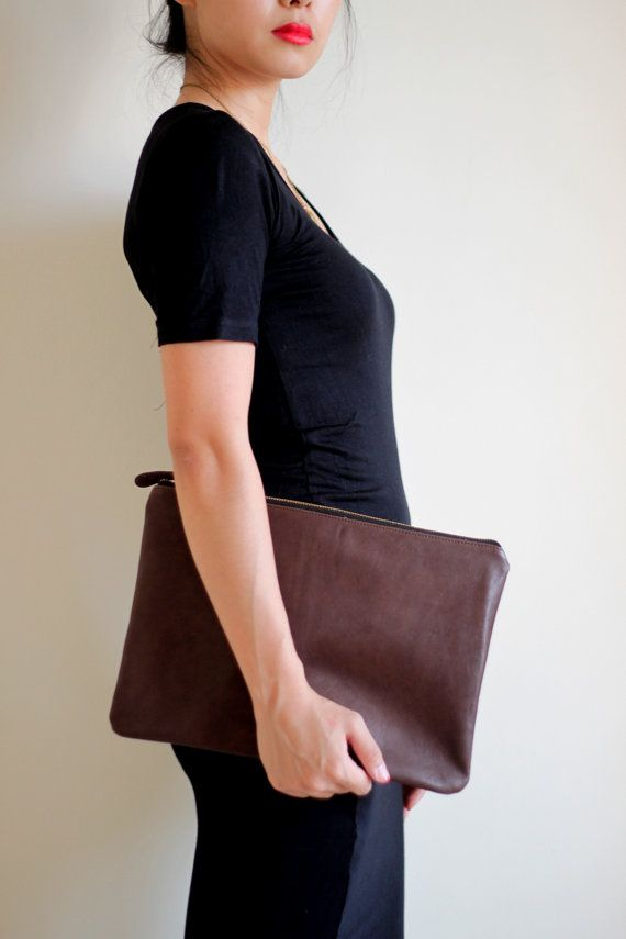 leather brown clutch