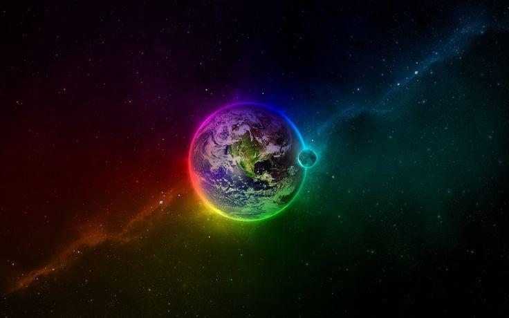 бездна, луна, космос, цвета, звёзды, земля, Планета, 2560x1600