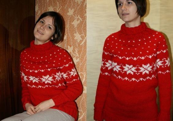 Красный свитер норвежским узором