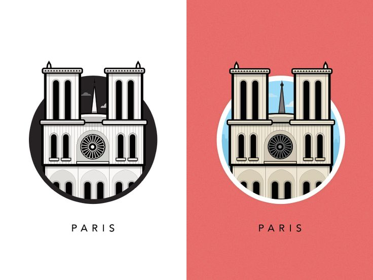 Illustration of Famous European Landmarks