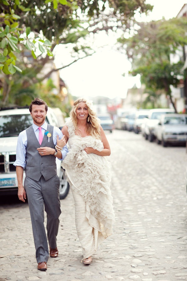 grey & pink groom and groomsmen attire - good for beach wedding, casual feel