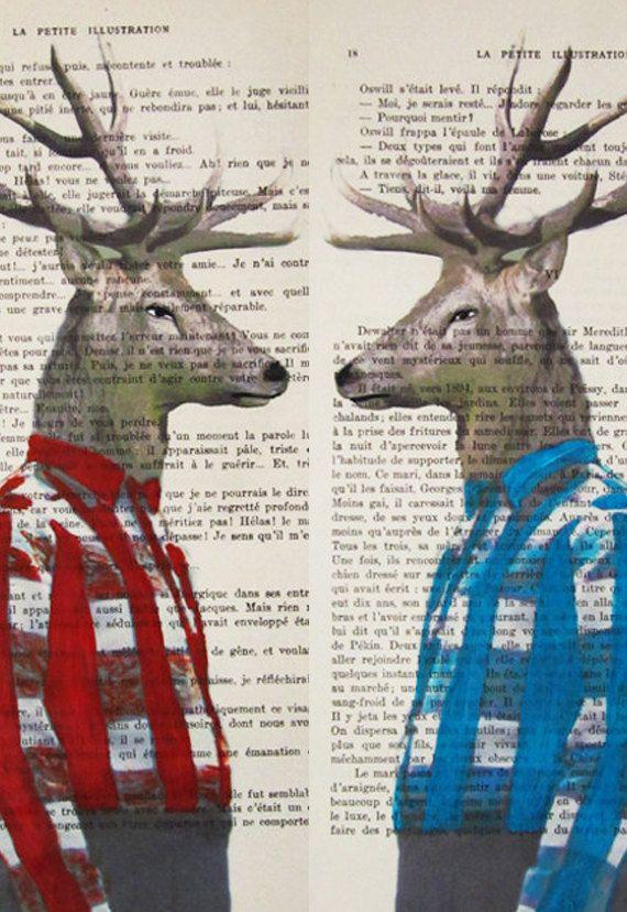2 Mr Deers : Poster Print / Mixed Media / Gift For Him / Digital Print / Drawing Illustration / Painting / Vintage Art