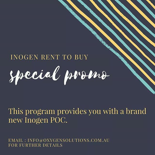 Inogen Rent to Buy    This program provides you with a brand new Inogen POC. Minimum rental term is 6 months and the agreement must be signed by two family members. Payable via direct debit and ideal for long term hire.  $37.50 per week for an Inogen One G2. $42.50 per week for an Inogen One G3. A deposit of $1500 payable. Minimum rental term is 6 months. Pay for 30 months and own it outright.  Learn more : http://oxygensolutions.com.au/promotions/    #SpecialPromo #OxygenSolutions