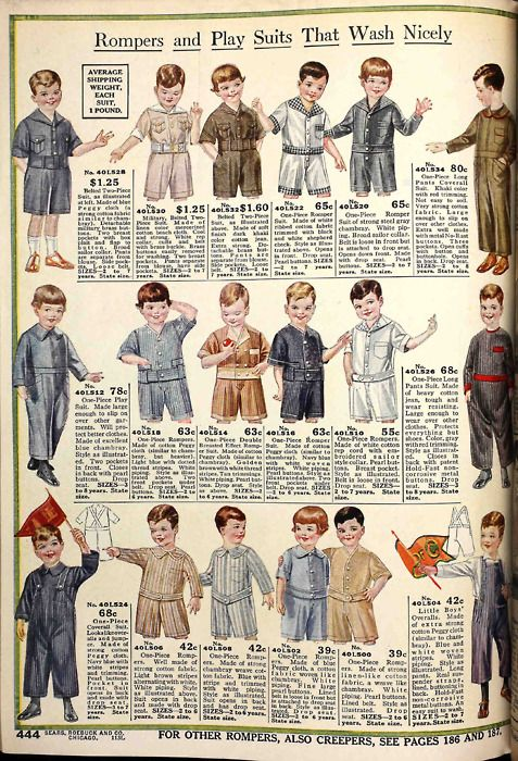 A page of very cute boys' rompers and playsuits from the Spring 1918 Sears catalog.