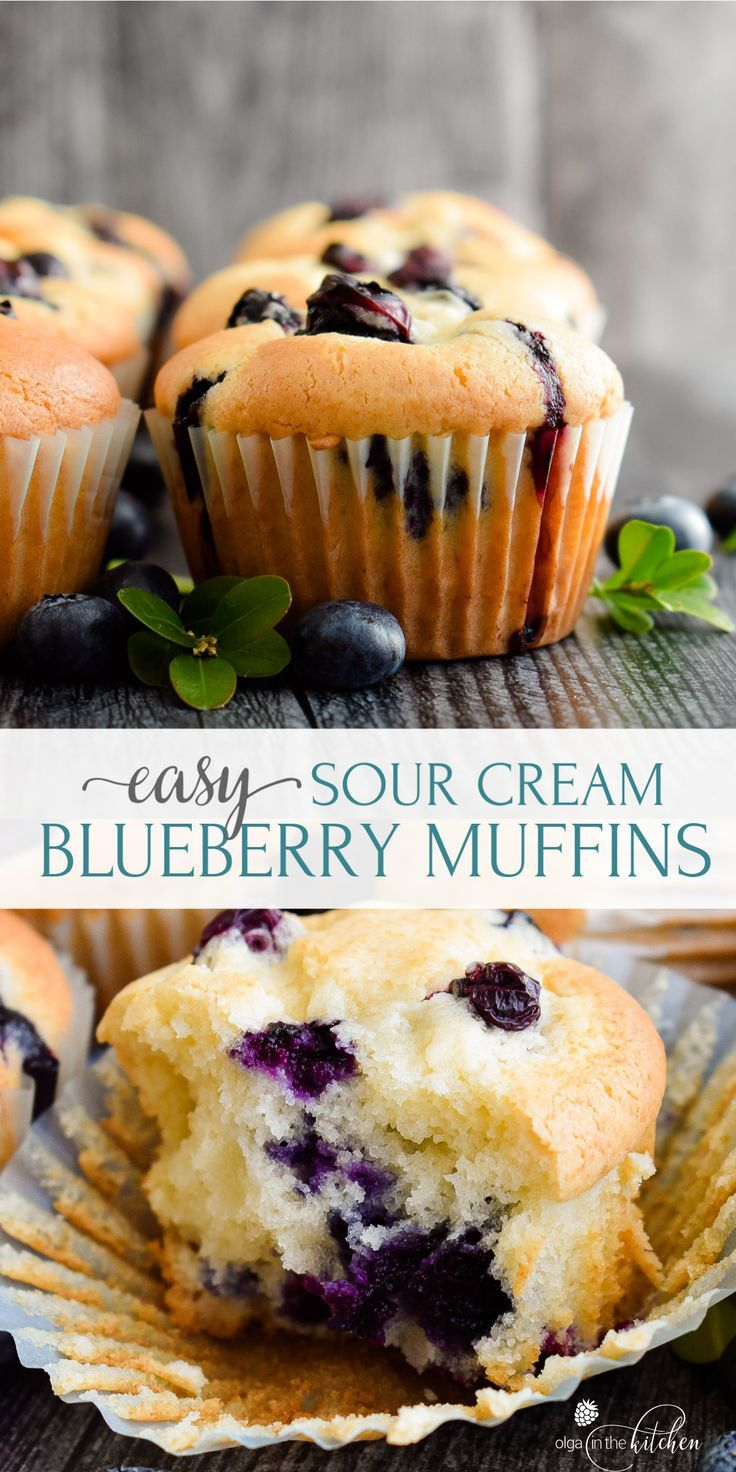 Sour Cream Blueberry Muffins Olga In The Kitchen Recipe In 2020 Sour Cream Blueberry Muffins Sour Cream Muffins Muffin Recipes Blueberry