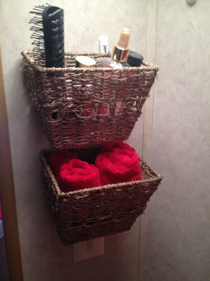 In The Bathroom I Hung These Baskets With Command Strips Basket And From