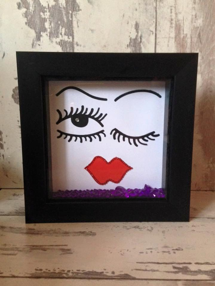 Wall art ~ Funky Face design in a shadown box frame ~ trending items ~ birthday gift ~ home or office decoration ~ salon decoration by FunkyDesignsbyDi on Etsy