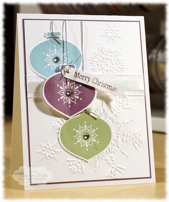 Ornament card.Christmas Cards, Cards Ideas, Christmas Colors, Stampin Up, Ornaments Cards, Christmas Decor, Ornaments Punch, Christmas Ornaments, Paper Crafts