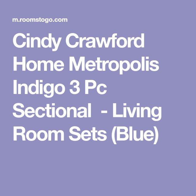 Cindy Crawford Home Metropolis Indigo 3 Pc Sectional-Living Room Sets (Blue)