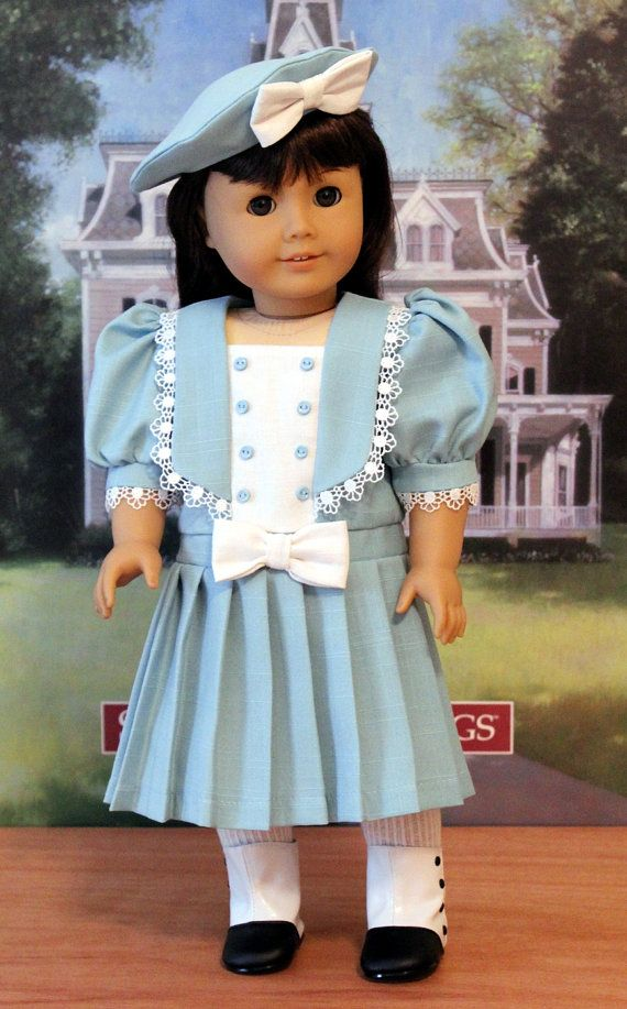 Blue Linen Middy Dress with Hat for American Girl by BabiesArtUs, $58.00