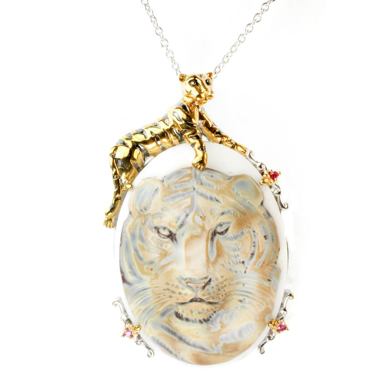 One-of-a-kind Micheal Valitutti Silver Carved Tiger Shell Cameo Pendant w/ Pink Sapphire