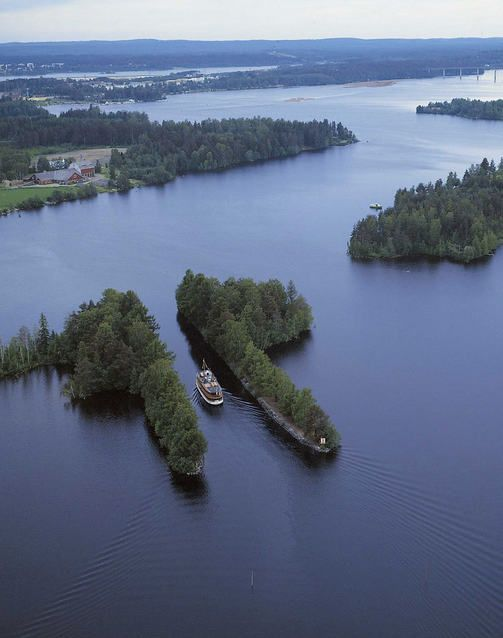 Haijan kanava Varkaus, canal between the halves of a split island, Finland.