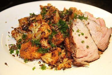 Pečený květák s vepřovým špalíčkem /Roasted cauliflower with pork meat/ Zdravé, nízkosacharidové, bezlepkové recepty. (Healthy, low carb, gluten free recipes.)