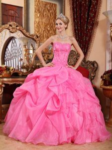 Rose Pink Strapless Organza Appliques Sweet 16 Dresses in wholesale price