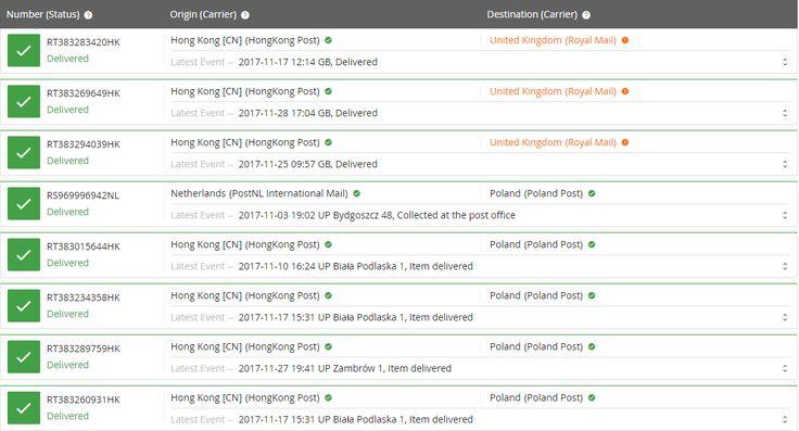 UK&Poland shipping status