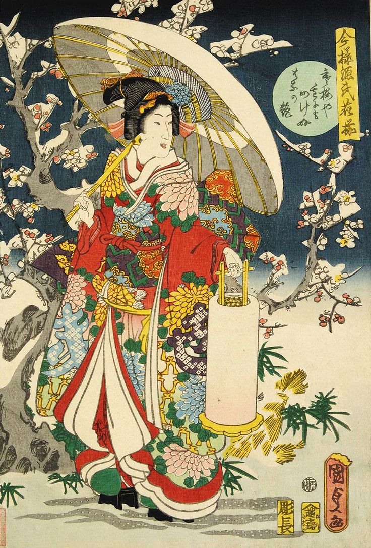 Utagawa Kunisada II (1823-1880) 歌川国定(二代) Charm of Beauy that isn't losing against Plum Blossom or Snow  寒梅や雪にもまけぬ花の艶、1861 from the series Collection of Modern Beauties in The Tale of Genji  今様源氏花揃
