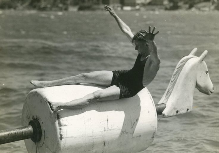 tipping horse, manly harbour pool 1930s