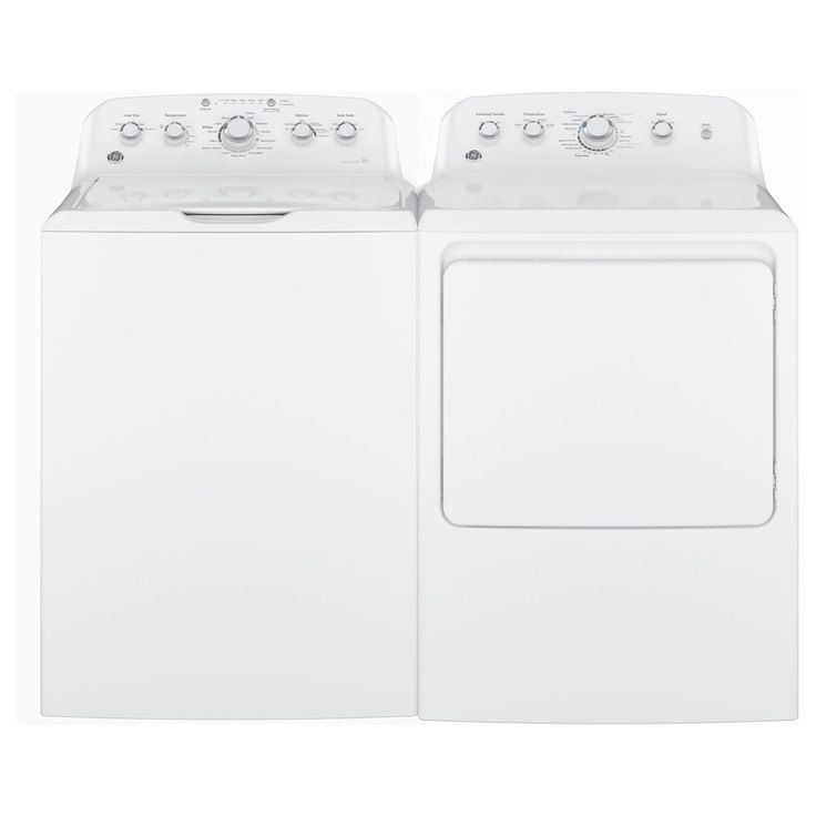 GE Laundry Pair with 7.2-cubic Feet Capacity Aluminized Alloy Drum Gas Dryer and 4.2-cubic Feet Capa () (Metal)