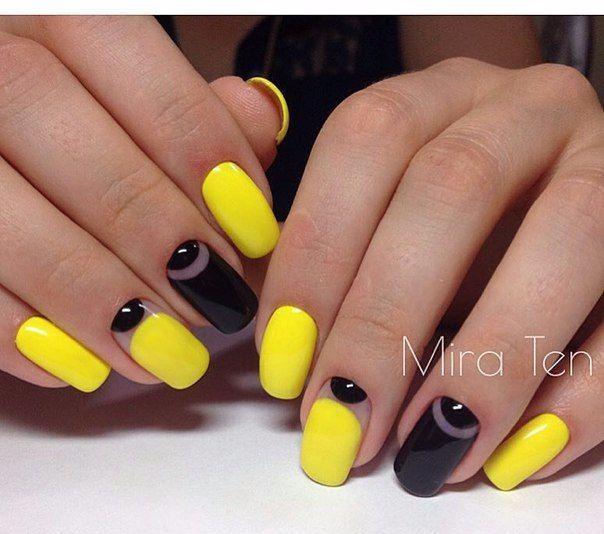 Beautiful summer nails, Black and yellow nails, Bright gel polish, Bright summer nails, Manicure by yellow dress, Shellac nails 2016, Summer gel polish, Summer nails 2016