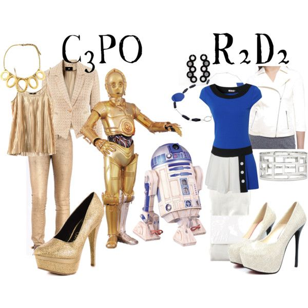 """C3PO and R2D2"" by companionclothes on polyvore.  Would never ever wear the c3po outfit but love the r2d2 one"