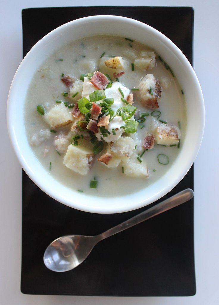 "Loaded Baked ""Potato"" Soup - Versatile cauliflower stands in for the majority of the starch, which dramatically slashes the carb count without sacrificing the texture or flavor of this loaded baked potato soup. Top it off with your favorite classic baked potato garnishes, and prepare to be wowed."