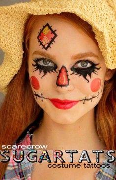 Scarecrow - Temporary Tattoos - Costume Halloween 2013 Makeup