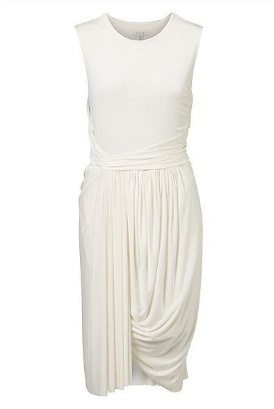 Sleeveless Jersey Drape Dress in BLACK...sleek, sexy and can be worn from the office to after-work drinks!
