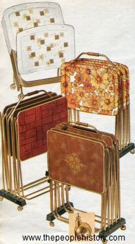 1967 TV Trays - a new invention and everyone had them. The bottom one in green I still have they were my Dads his Mom Grandma Cope gave them to my parents as a gift....
