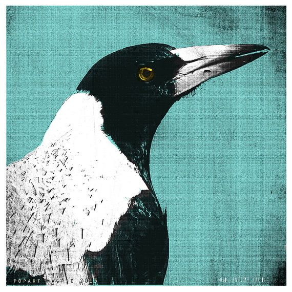 Pop Art Magpie  Australian by MidCenturyChild on Etsy, $49.00