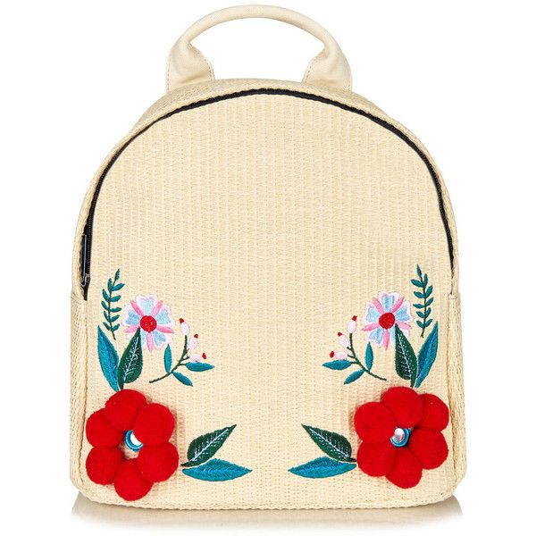 Charlie Raffia Backpack found on Polyvore featuring bags, backpacks, floral bags, beige bag, day pack backpack, raffia bag and beige backpack