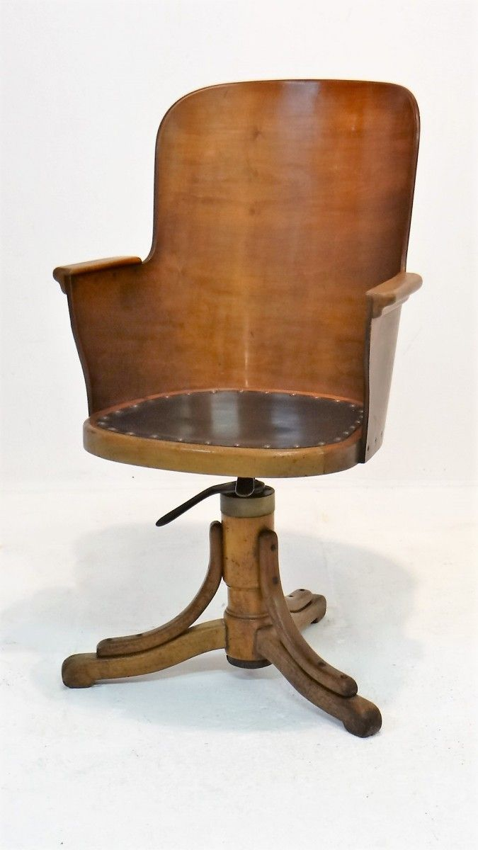Aluminum bucket chairs - This Belgian Swivel Office Chair In Art Deco Style Features A Plywood Bucket Seat With Solid
