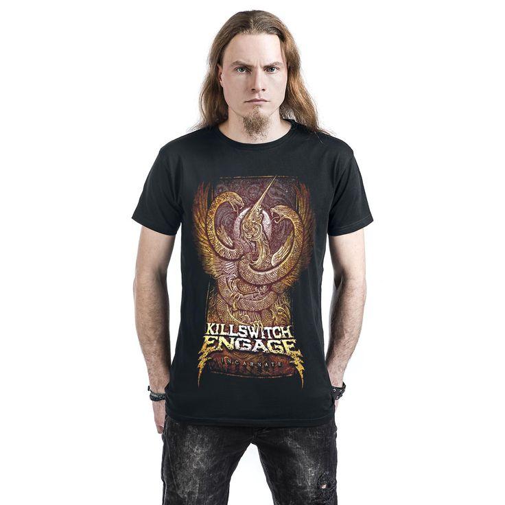 """Classica T-Shirt uomo nera """"Incarnate"""" dei #KillswitchEngage."""