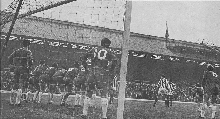 8th October 1966. West Bromwich goalkeeper John Osbourne appears to be the calmest man on the field as his team mates cover the entire goal for a Sunderland free kick, at Roker Park.
