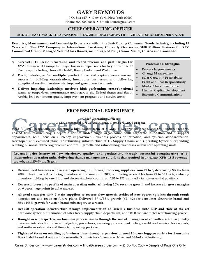 C Level Cv Template Cvtemplate Level Template Chief Operating Officer Resume Resume Examples