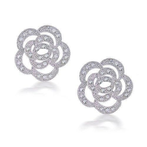 Bling Jewelry Silver Toned Pave CZ Open Rose Flower Stud Earrings