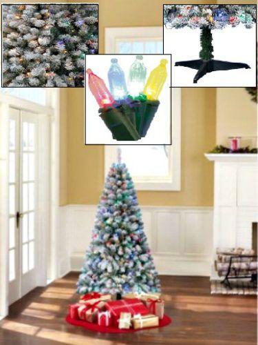 6' Ft Pre Lit Christmas Tree Alpine Flocked Fir Artificial Xmas Tree Festive New #ChristmasTree